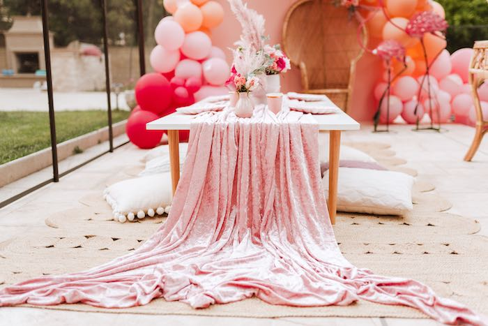 Pink Velvet Table Runner + Guest Table from a Pink Flamingle Party on Kara's Party Ideas | KarasPartyIdeas.com (24)