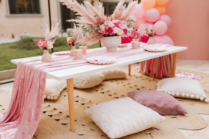 Guest Table from a Pink Flamingle Party on Kara's Party Ideas | KarasPartyIdeas.com (23)