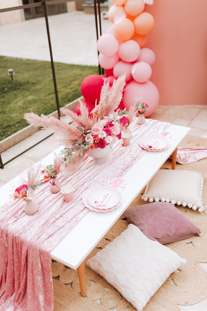 Pink Velvet Guest Table from a Pink Flamingle Party on Kara's Party Ideas | KarasPartyIdeas.com (22)