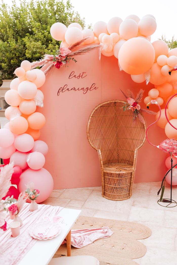 Flamingo Party Backdrop + Photo Booth from a Pink Flamingle Party on Kara's Party Ideas | KarasPartyIdeas.com (18)