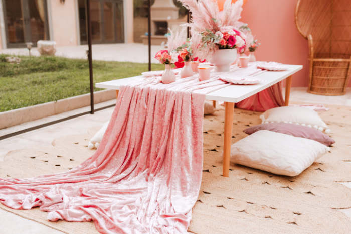 Pink Velvet Guest Table from a Pink Flamingle Party on Kara's Party Ideas | KarasPartyIdeas.com (17)