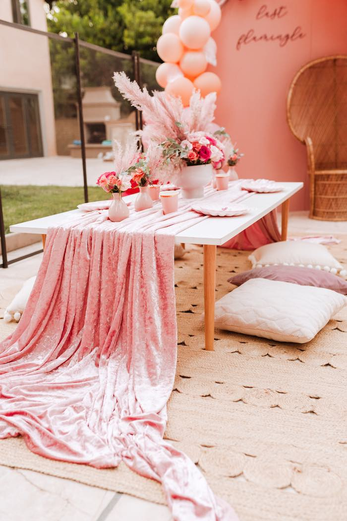 Guest Table from a Pink Flamingle Party on Kara's Party Ideas | KarasPartyIdeas.com (16)