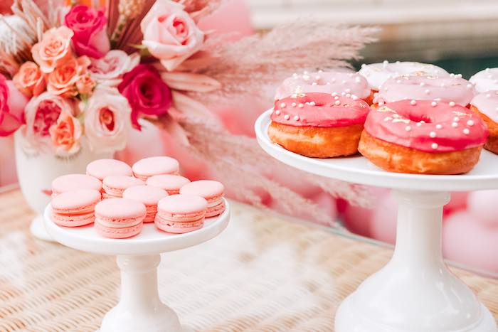 Pink Macarons & Donuts from a Pink Flamingle Party on Kara's Party Ideas | KarasPartyIdeas.com (12)