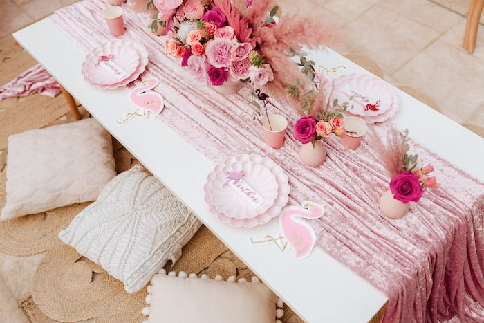 Flamingo Themed Guest Table from a Pink Flamingle Party on Kara's Party Ideas | KarasPartyIdeas.com (43)