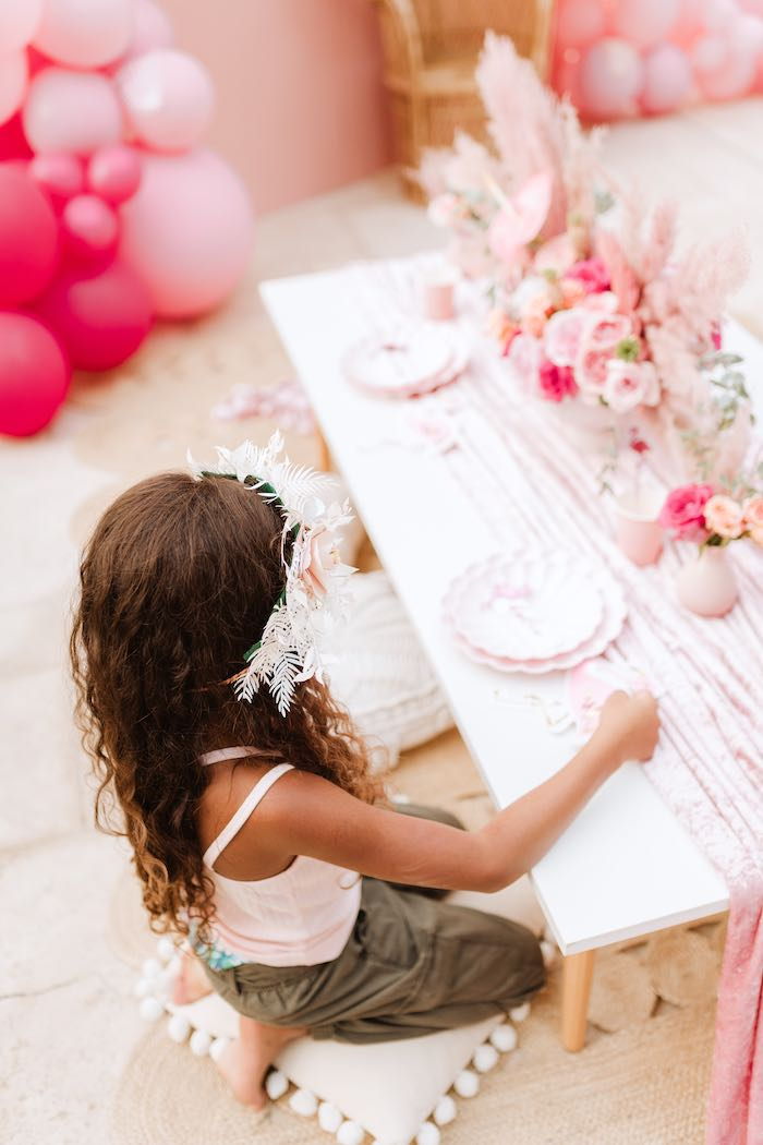 Flamingo Themed Guest Table from a Pink Flamingle Party on Kara's Party Ideas | KarasPartyIdeas.com (42)