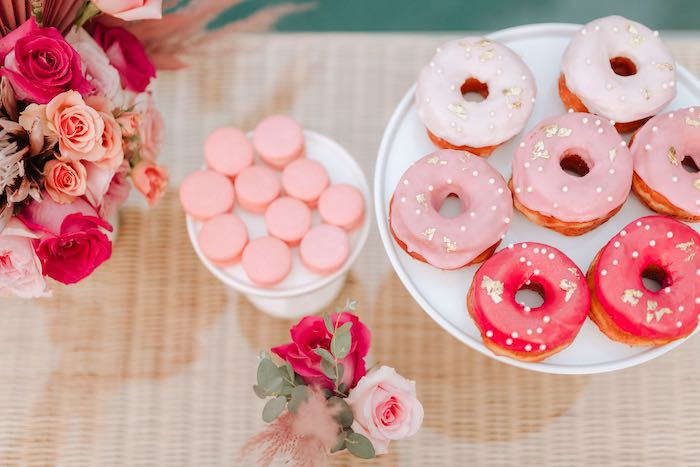 Pink & White Donuts from a Pink Flamingle Party on Kara's Party Ideas | KarasPartyIdeas.com (40)