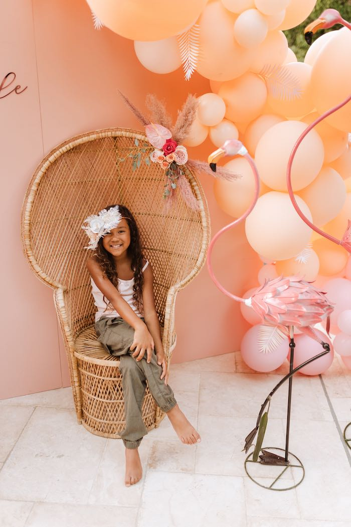 Flamingo Themed Photo Booth + Backdrop from a Pink Flamingle Party on Kara's Party Ideas | KarasPartyIdeas.com (37)