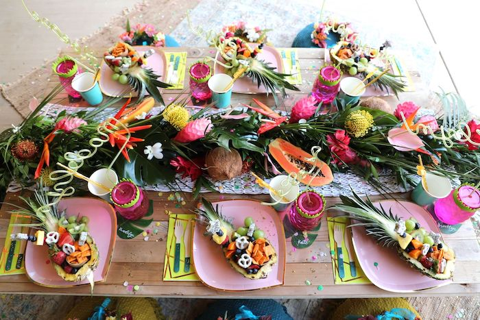 Tropical Guest Table from a Tropical Pineapple Birthday Party on Kara's Party Ideas | KarasPartyIdeas.com (24)
