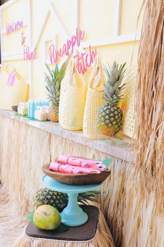 Pineapple Patch Favor Bar from a Tropical Pineapple Birthday Party on Kara's Party Ideas | KarasPartyIdeas.com (22)