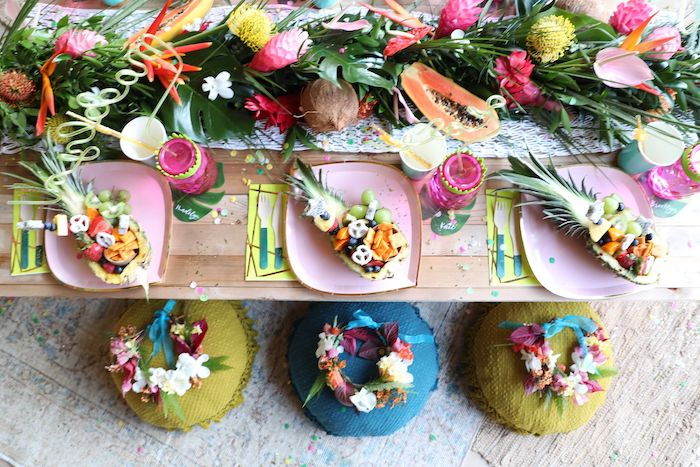 Tropical Guest Table from a Tropical Pineapple Birthday Party on Kara's Party Ideas | KarasPartyIdeas.com (20)