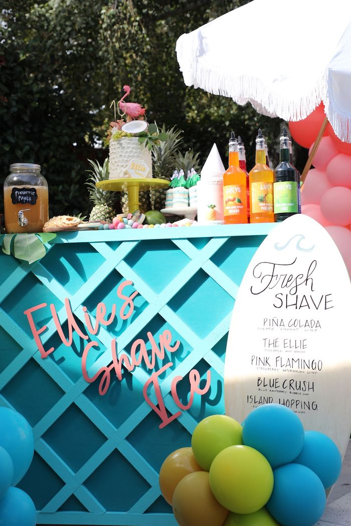 Shave Ice Dessert Bar from a Tropical Pineapple Birthday Party on Kara's Party Ideas | KarasPartyIdeas.com (16)