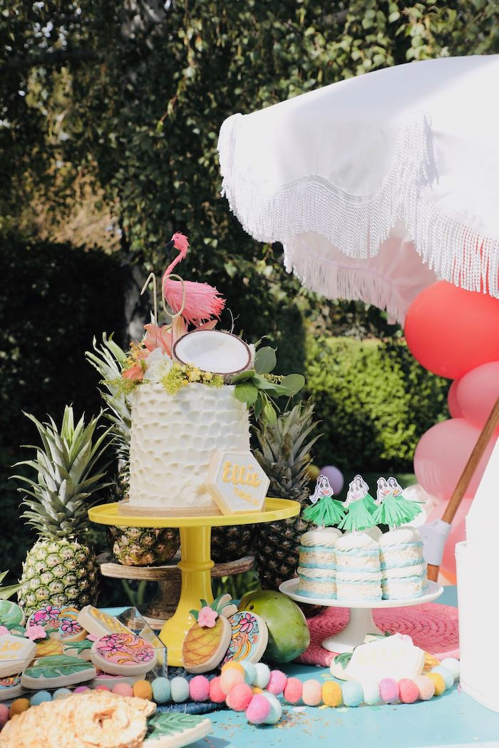 Tropical Cake + Cake Table from a Tropical Pineapple Birthday Party on Kara's Party Ideas | KarasPartyIdeas.com (34)