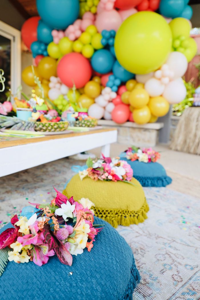Pouf Chairs adorned with Leis from a Tropical Pineapple Birthday Party on Kara's Party Ideas | KarasPartyIdeas.com (15)