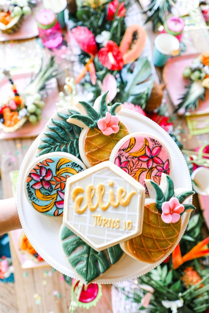 Tropical Themed Sugar Cookies from a Tropical Pineapple Birthday Party on Kara's Party Ideas | KarasPartyIdeas.com (12)