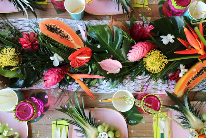 Tropical Floral + Greenery Table Runner from a Tropical Pineapple Birthday Party on Kara's Party Ideas | KarasPartyIdeas.com (11)