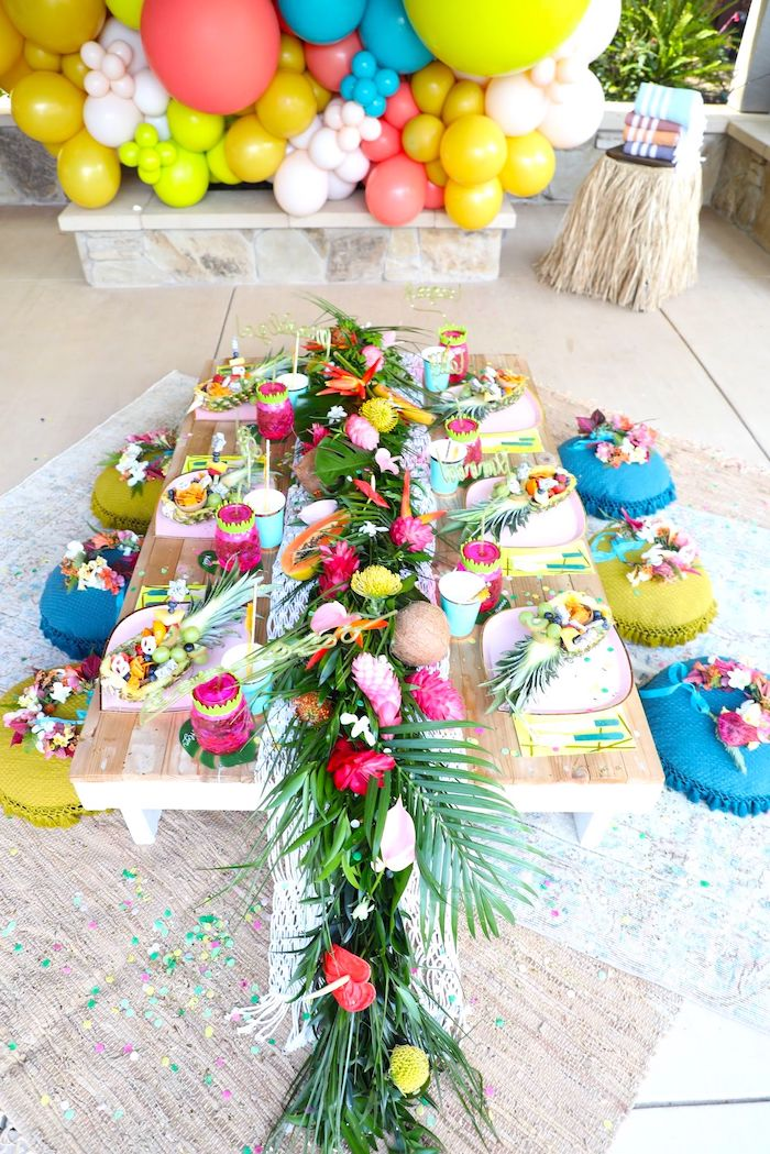 Tropical Guest Table from a Tropical Pineapple Birthday Party on Kara's Party Ideas | KarasPartyIdeas.com (10)