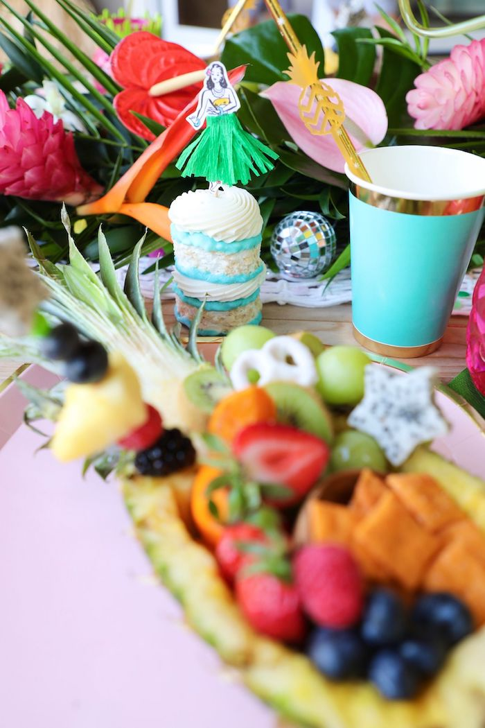 Hula Girl Mini Cake from a Tropical Pineapple Birthday Party on Kara's Party Ideas | KarasPartyIdeas.com (8)