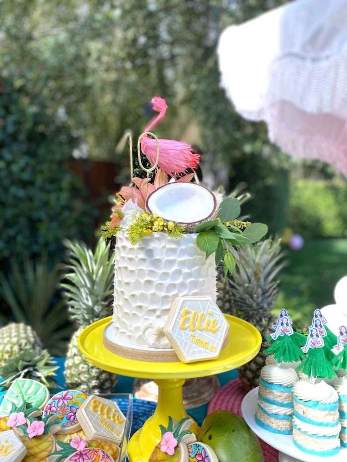 Tropical Cake from a Tropical Pineapple Birthday Party on Kara's Party Ideas | KarasPartyIdeas.com (7)