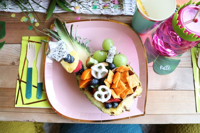 Pineapple Bowl Table Setting from a Tropical Pineapple Birthday Party on Kara's Party Ideas | KarasPartyIdeas.com (33)