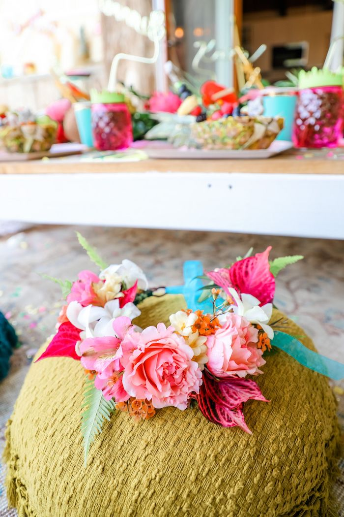 Lei from a Tropical Pineapple Birthday Party on Kara's Party Ideas | KarasPartyIdeas.com (26)
