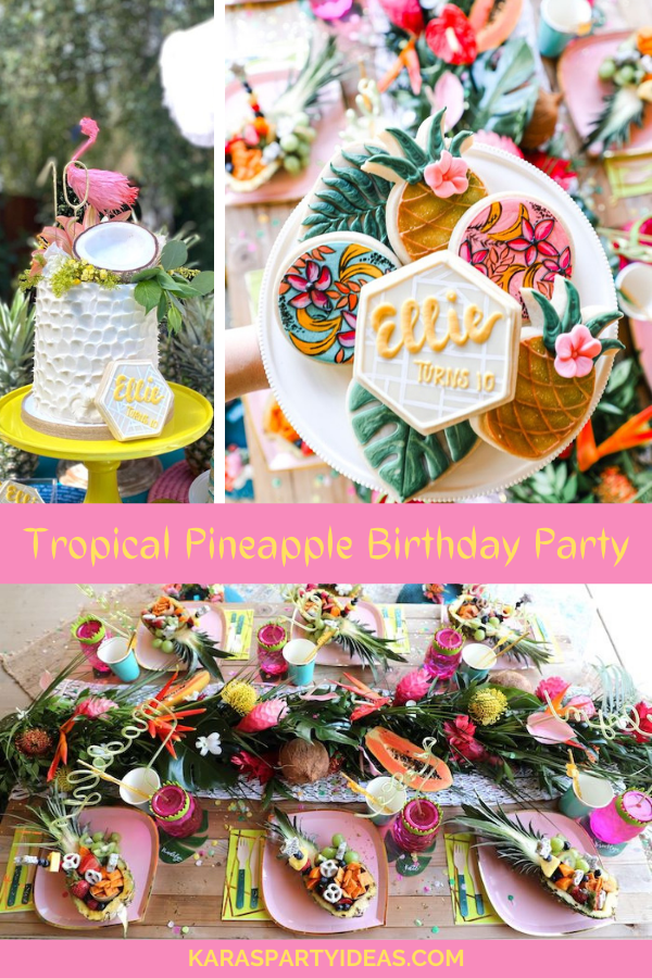Tropical Pineapple Birthday Party via Kara's Party Ideas - KarasPartyIdeas.com