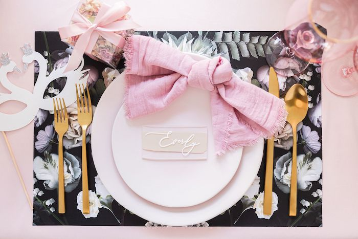 Swan Lake Ballet-inspired Table Setting from a Tutu Cute Birthday Party on Kara's Party Ideas | KarasPartyIdeas.com (24)