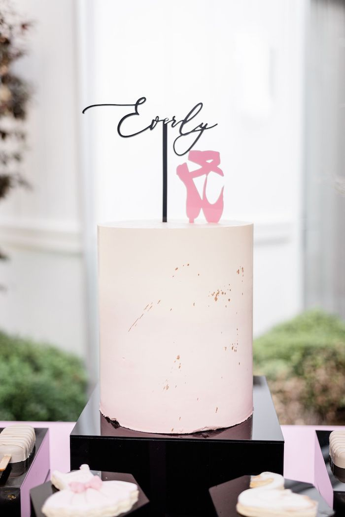 Minimalistic Ballet Cake from a Tutu Cute Birthday Party on Kara's Party Ideas | KarasPartyIdeas.com (9)
