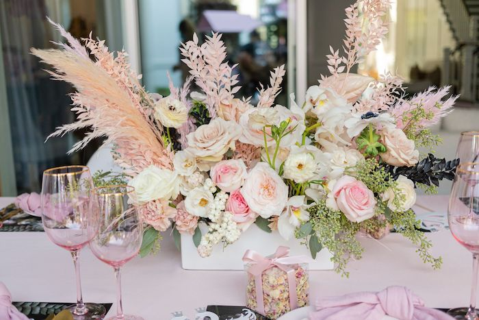 Guest Table Floral Arrangement from a Tutu Cute Birthday Party on Kara's Party Ideas | KarasPartyIdeas.com (8)