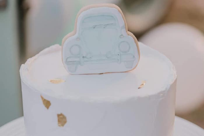 VW Beetle Cake Topper from a Vintage Boho VW Beetle Party on Kara's Party Ideas | KarasPartyIdeas.com (19)