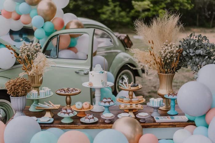 Boho Dessert Table from a Vintage Boho VW Beetle Party on Kara's Party Ideas | KarasPartyIdeas.com (10)