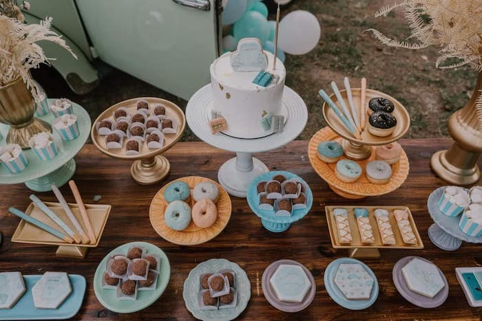 Boho Dessert Table from a Vintage Boho VW Beetle Party on Kara's Party Ideas | KarasPartyIdeas.com (28)
