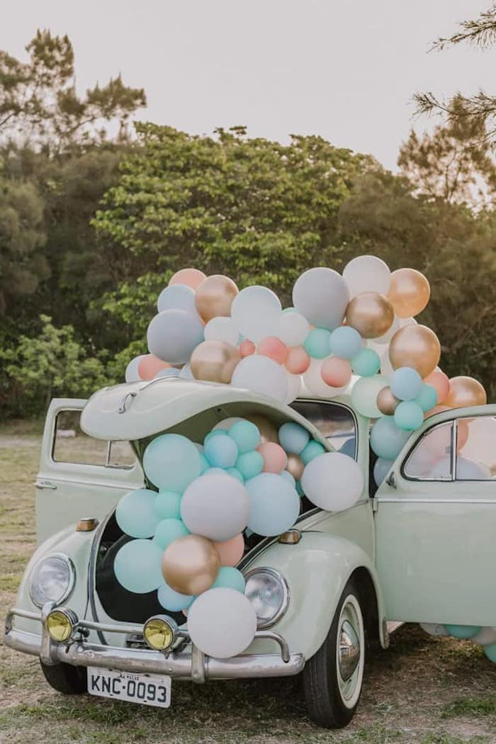 Vintage Bug + Balloon Install from a Vintage Boho VW Beetle Party on Kara's Party Ideas | KarasPartyIdeas.com (3)