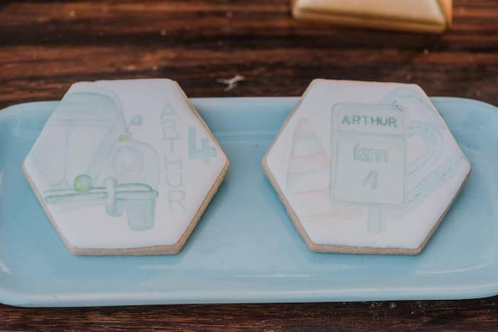 Cookies from a Vintage Boho VW Beetle Party on Kara's Party Ideas | KarasPartyIdeas.com (27)