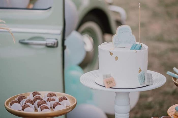 VW Beetle Themed Birthday Cake from a Vintage Boho VW Beetle Party on Kara's Party Ideas | KarasPartyIdeas.com (24)