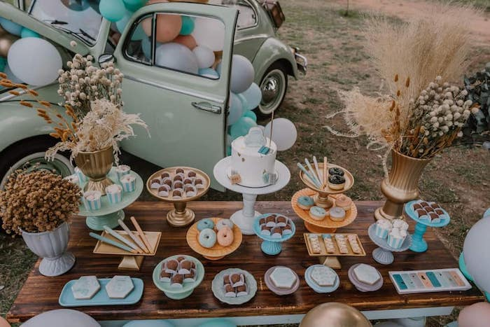 Boho Dessert Table from a Vintage Boho VW Beetle Party on Kara's Party Ideas | KarasPartyIdeas.com (23)