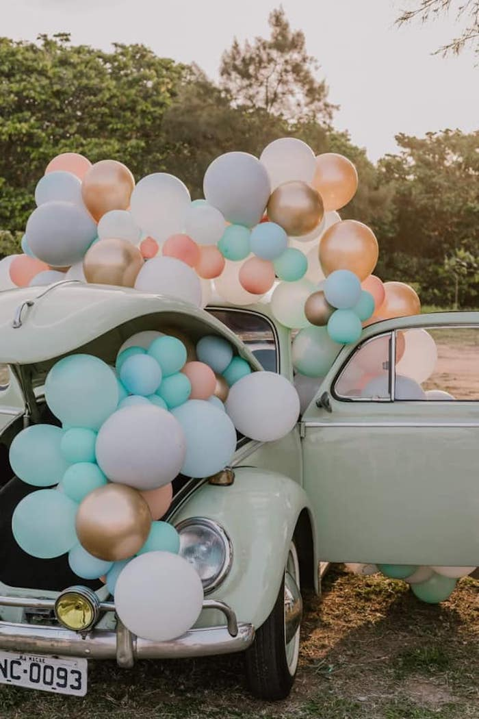 VW Beetle filled with Balloons from a Vintage Boho VW Beetle Party on Kara's Party Ideas | KarasPartyIdeas.com (21)