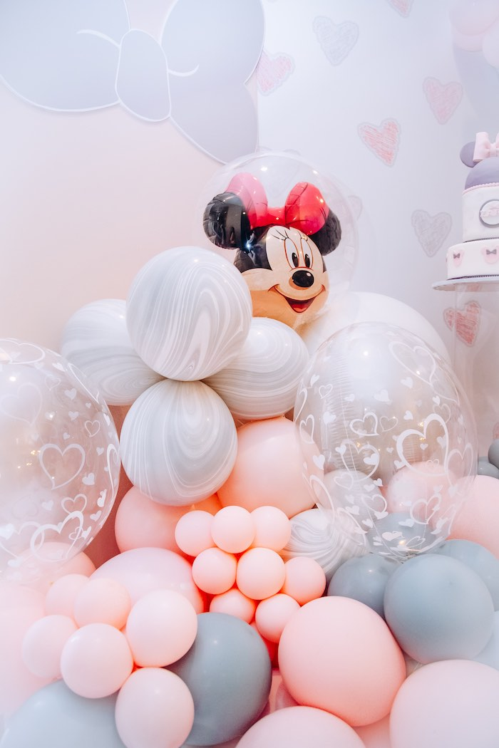 Minnie Mouse Balloon Install from a Vintage Pastel Minnie Mouse Party on Kara's Party Ideas | KarasPartyIdeas.com (3)