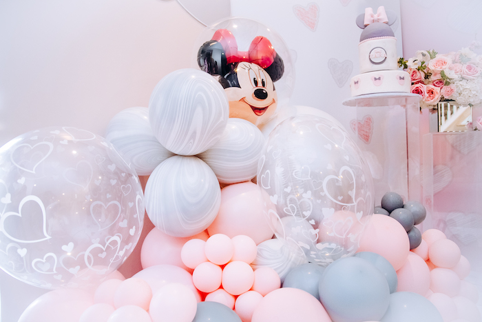 Minnie Mouse Balloon Install from a Vintage Pastel Minnie Mouse Party on Kara's Party Ideas | KarasPartyIdeas.com (2)