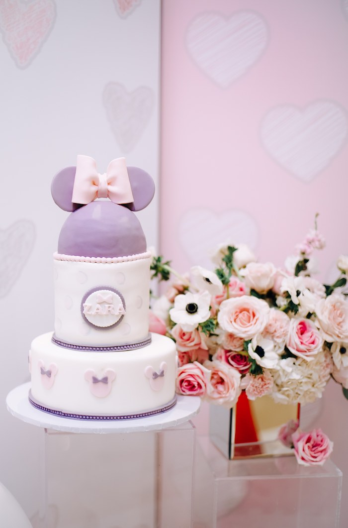 Purple Minnie Mouse Cake from a Vintage Pastel Minnie Mouse Party on Kara's Party Ideas | KarasPartyIdeas.com (18)
