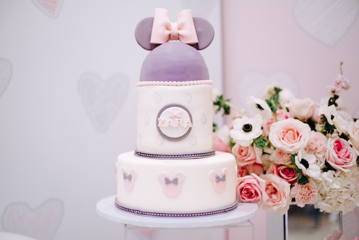 Purple Minnie Mouse Cake from a Vintage Pastel Minnie Mouse Party on Kara's Party Ideas | KarasPartyIdeas.com (17)