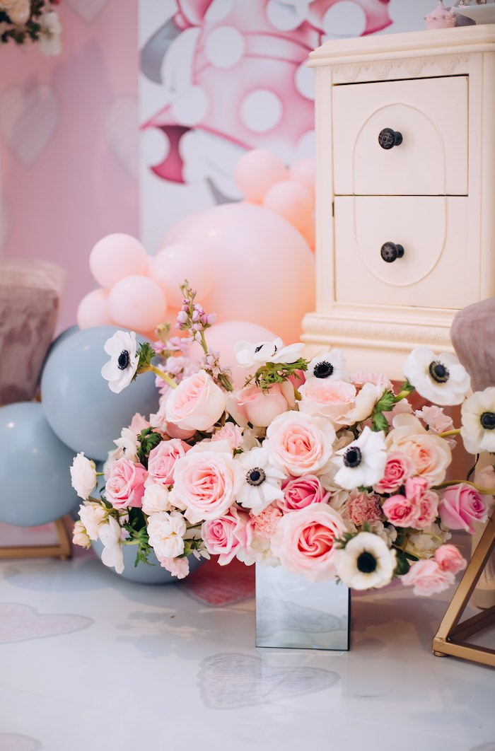 Floral Arrangements from a Vintage Pastel Minnie Mouse Party on Kara's Party Ideas | KarasPartyIdeas.com (15)