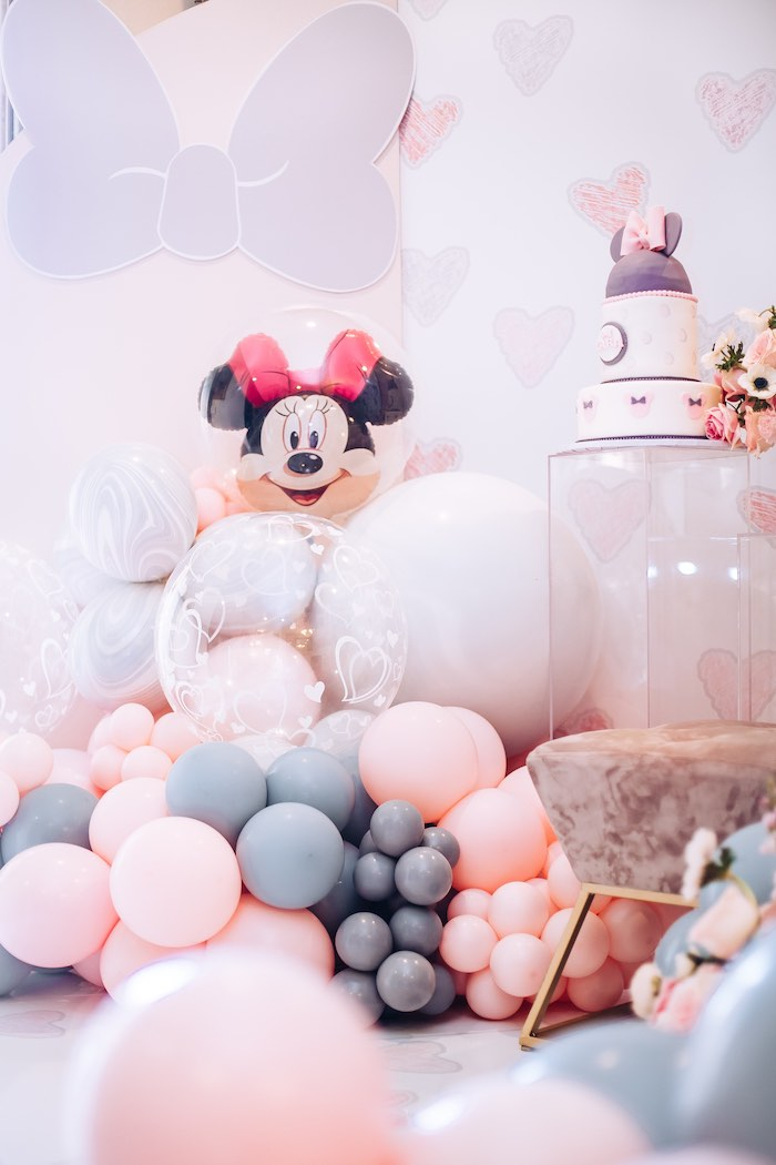 Minnie Mouse Balloon Install from a Vintage Pastel Minnie Mouse Party on Kara's Party Ideas | KarasPartyIdeas.com (11)