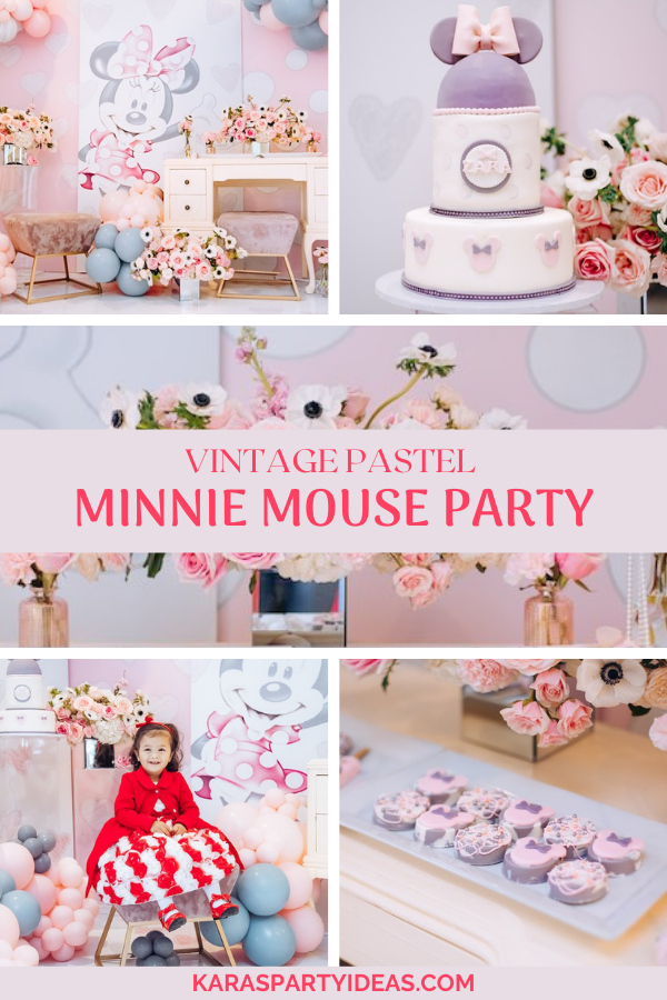 Vintage Pastel Minnie Mouse Party via Kara's Party Ideas - KarasPartyIdeas.com