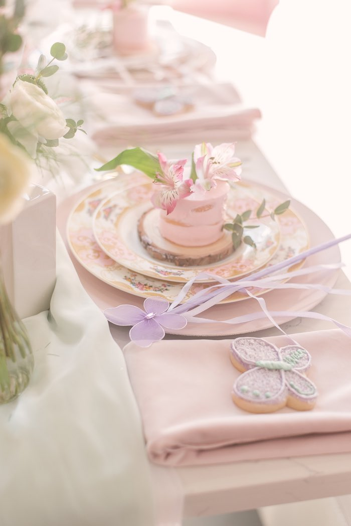 Fairy Themed Table Setting from a Woodland Butterfly Party on Kara's Party Ideas | KarasPartyIdeas.com (23)