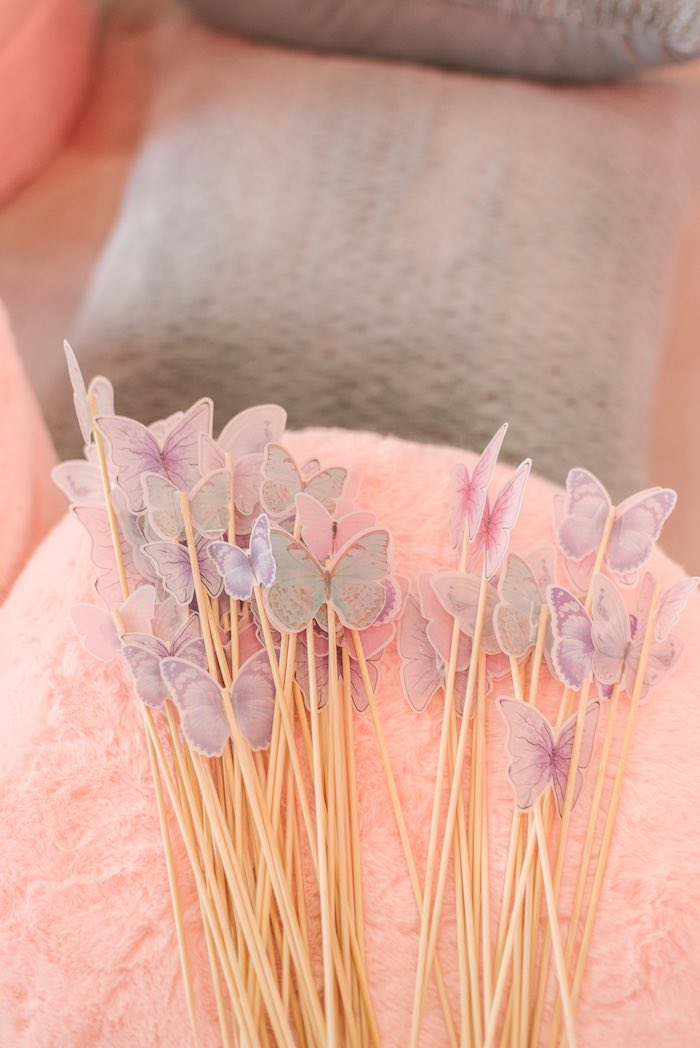 Butterfly Fairy Wands from a Woodland Butterfly Party on Kara's Party Ideas | KarasPartyIdeas.com (33)
