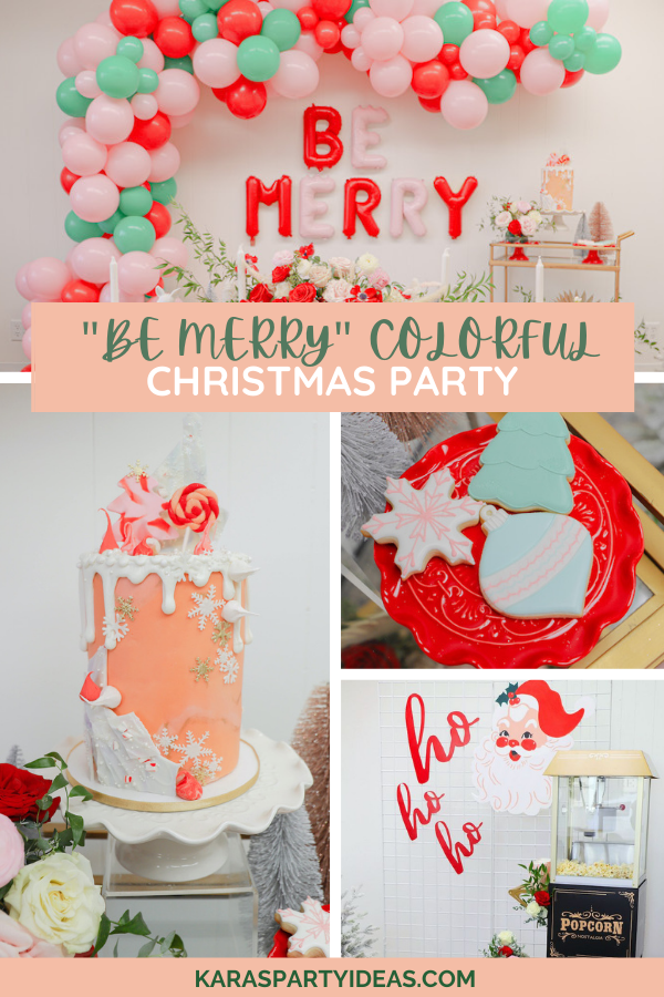 """Be Merry"" Colorful Christmas Party via Kara's Party Ideas - KarasPartyIdeas.com"
