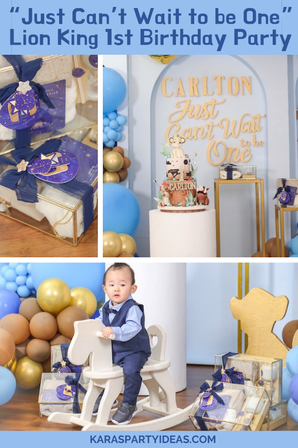 """Just Can't Wait to be One"" Lion King 1st Birthday Party via Kara's Party Ideas - KarasPartyIdeas.com"
