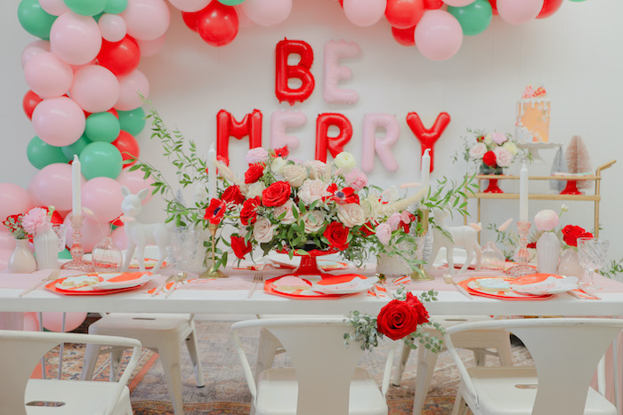 "Guest Table from a ""Be Merry"" Colorful Christmas Party on Kara's Party Ideas 