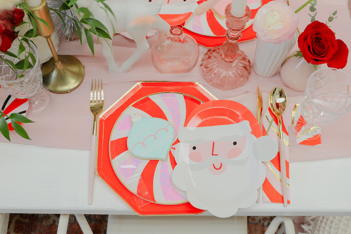 "Peppermint + Santa Claus Table Setting from a ""Be Merry"" Colorful Christmas Party on Kara's Party Ideas 