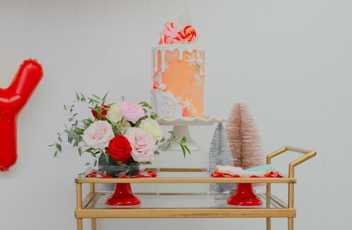 "Cake Cart from a ""Be Merry"" Colorful Christmas Party on Kara's Party Ideas 